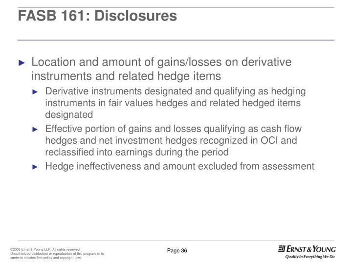 FASB 161: Disclosures