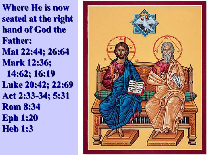 Where He is now seated at the right hand of God the Father: