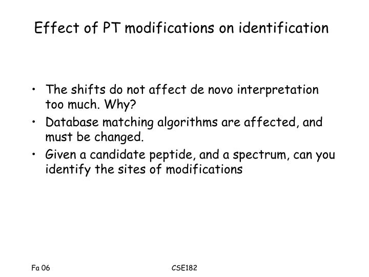 Effect of pt modifications on identification