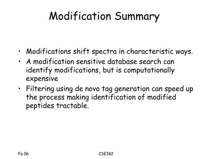 Modification Summary