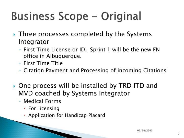 Business Scope - Original