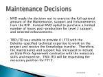 maintenance decisions