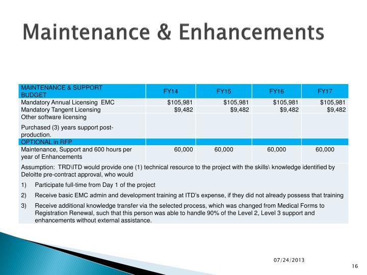 Maintenance & Enhancements