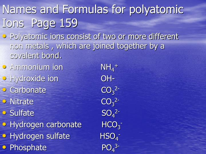 Names and Formulas for polyatomic Ions  Page 159