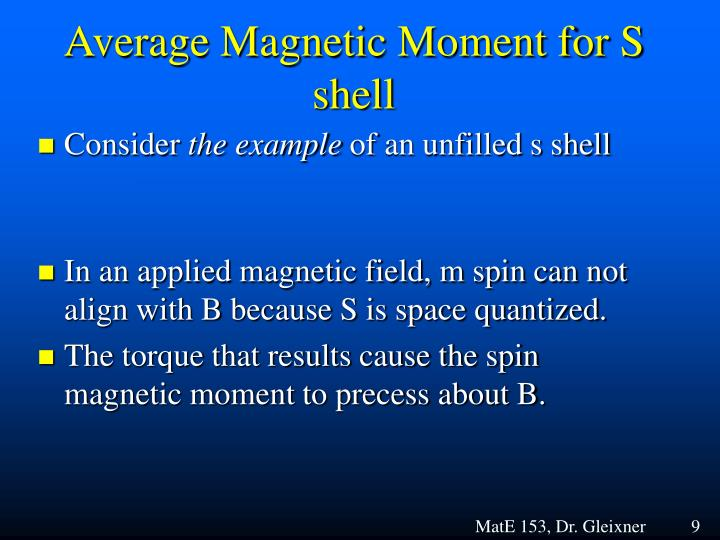 Average Magnetic Moment for S shell