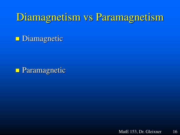 Diamagnetism vs Paramagnetism