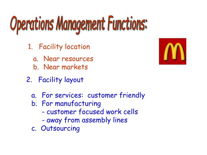 Operations Management Functions: