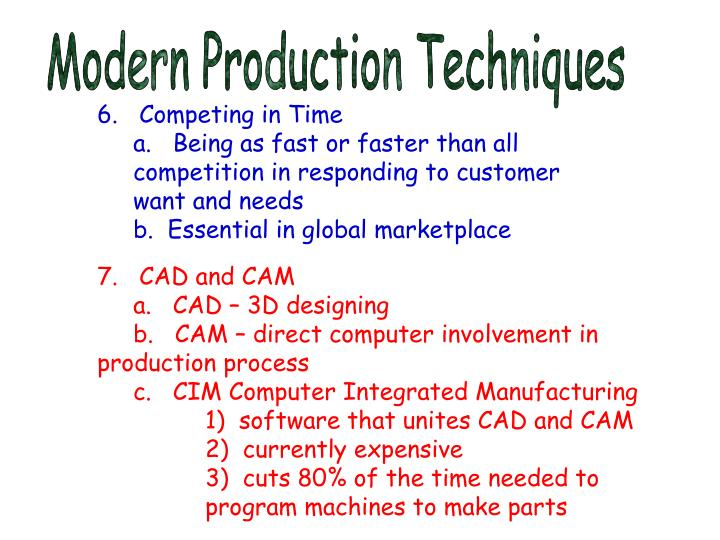 Modern Production Techniques