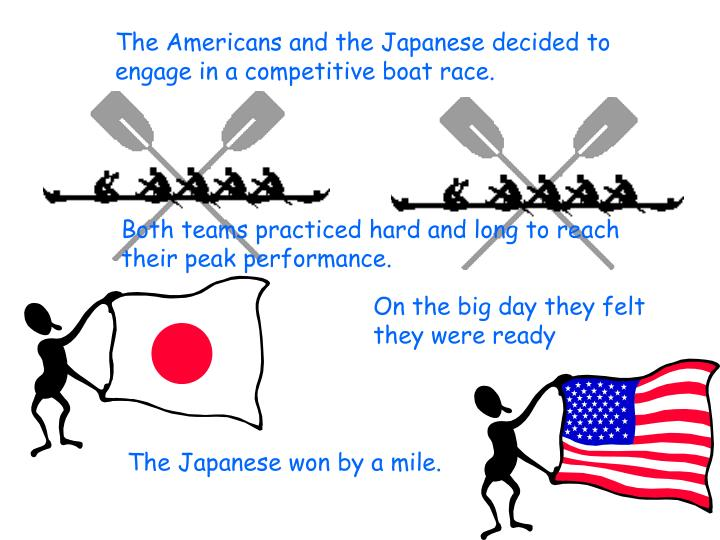 The Americans and the Japanese decided to engage in a competitive boat race.
