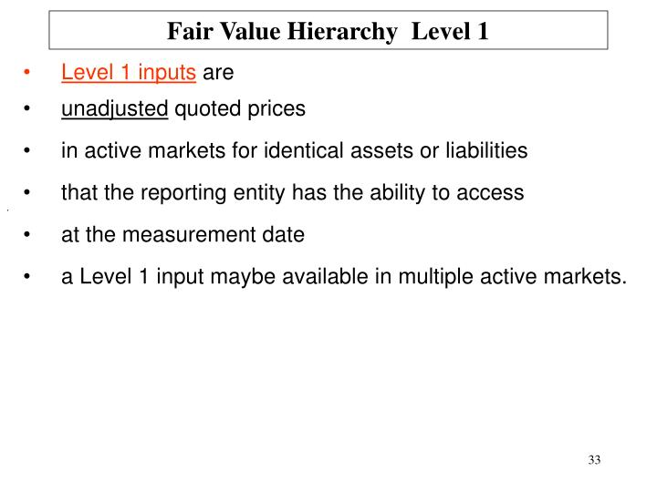 Fair Value Hierarchy  Level 1