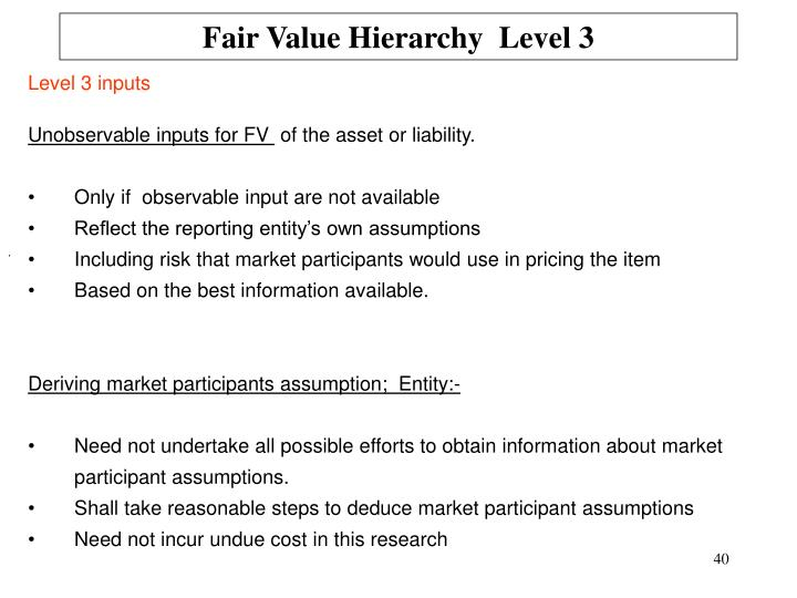 Fair Value Hierarchy  Level 3