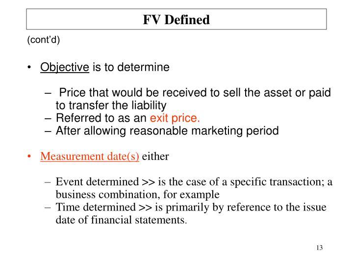 FV Defined