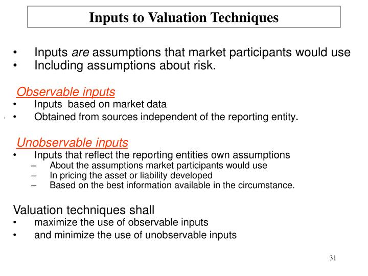 Inputs to Valuation Techniques