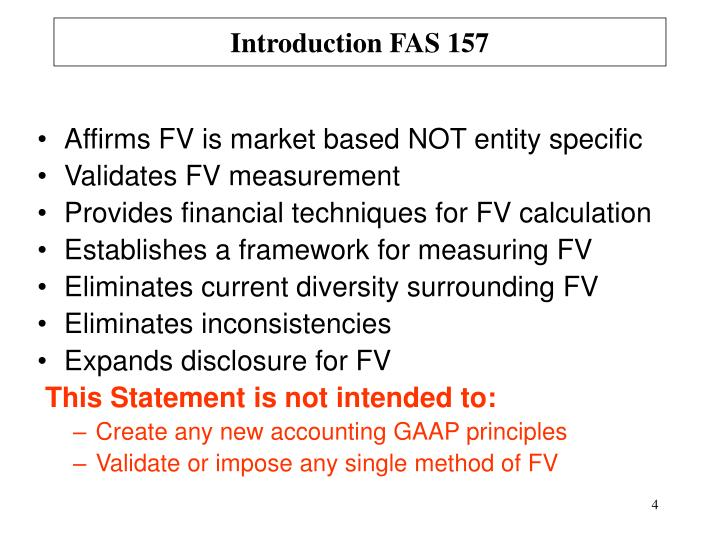 Introduction FAS 157