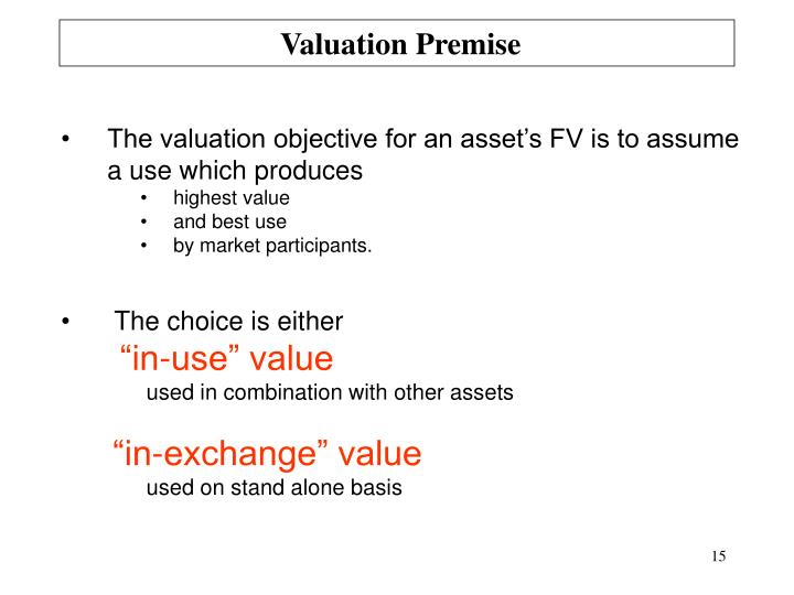 Valuation Premise
