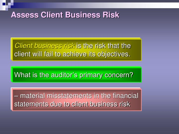 Assess Client Business Risk