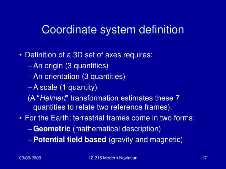 Coordinate system definition