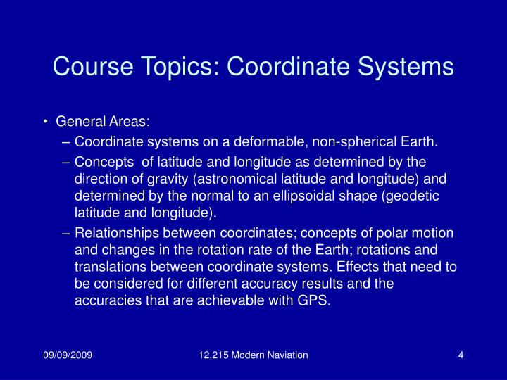 Course Topics: Coordinate Systems