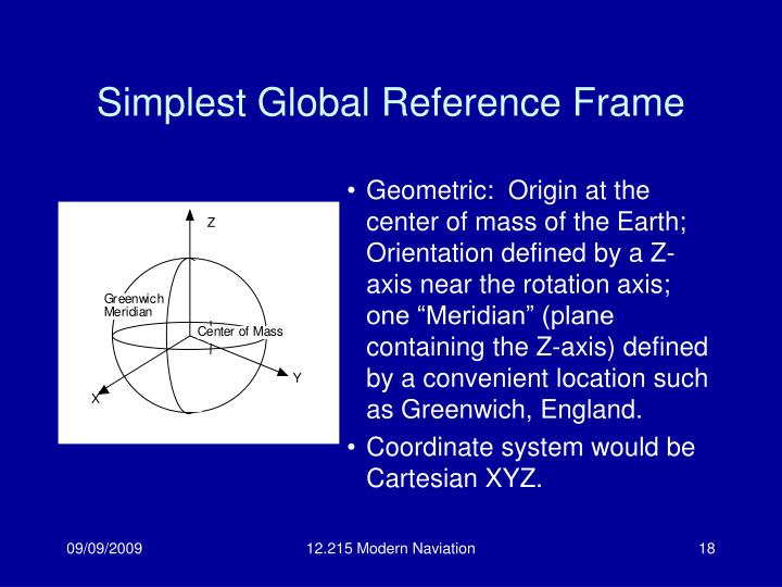 Simplest Global Reference Frame