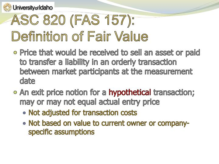 Asc 820 fas 157 definition of fair value