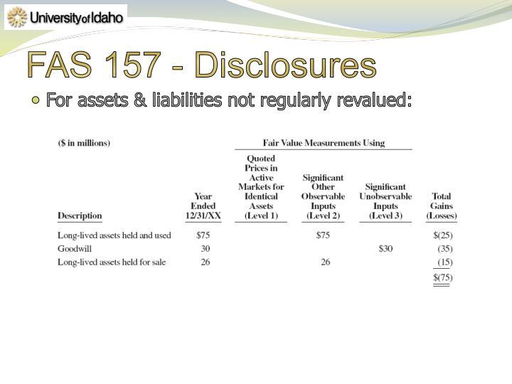 FAS 157 - Disclosures
