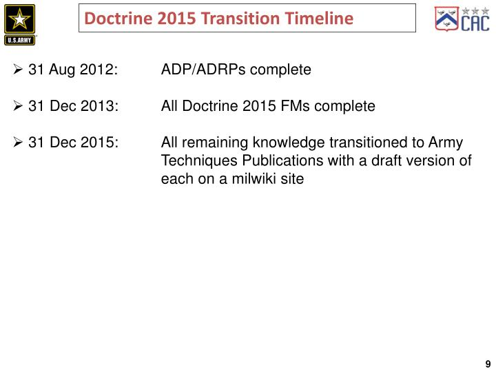 Doctrine 2015 Transition Timeline