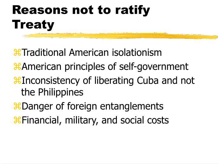 Reasons not to ratify Treaty