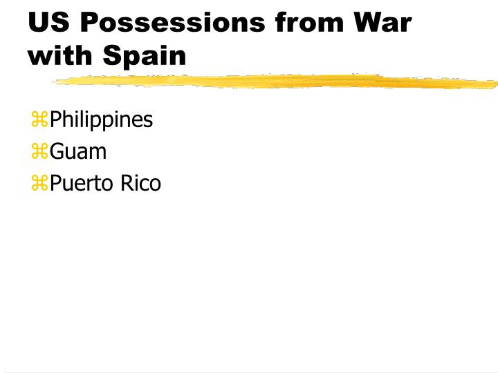 US Possessions from War with Spain