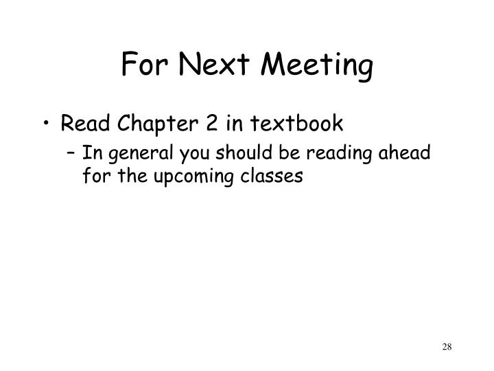 For Next Meeting