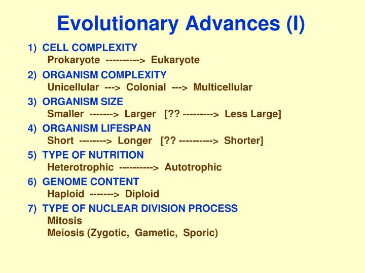 Evolutionary Advances (I)