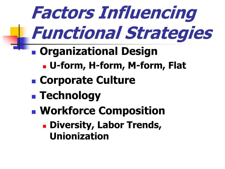 Factors Influencing Functional Strategies