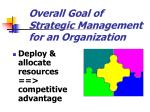 overall goal of strategic management for an organization