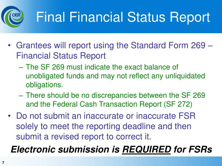 Final Financial Status Report