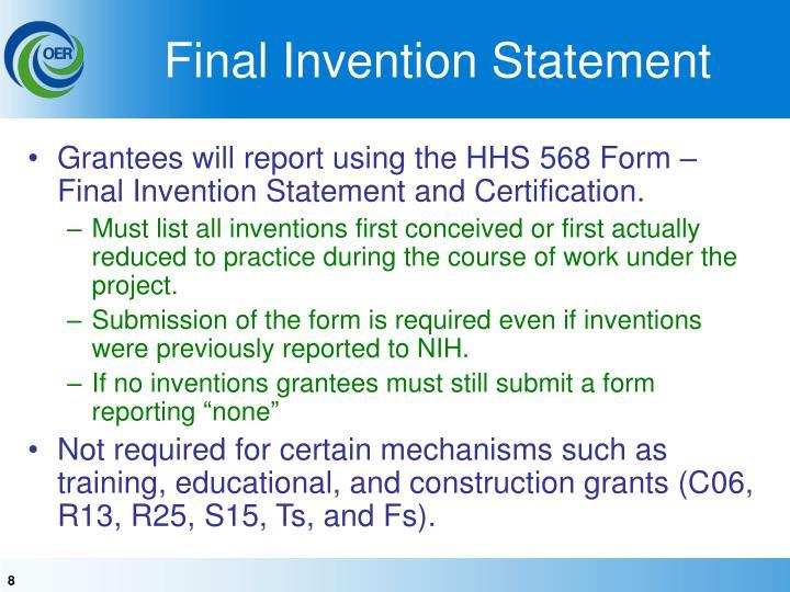 Final Invention Statement