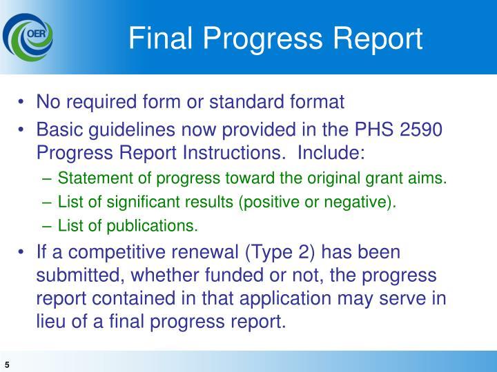 Final Progress Report