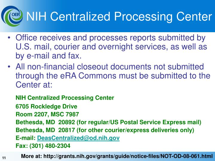 NIH Centralized Processing Center