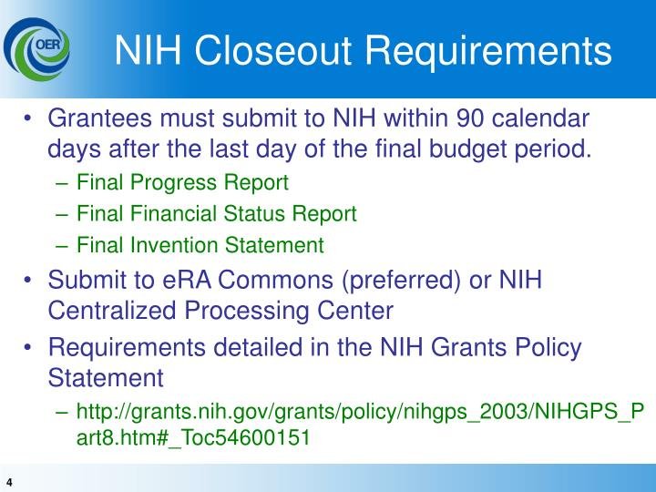 NIH Closeout Requirements