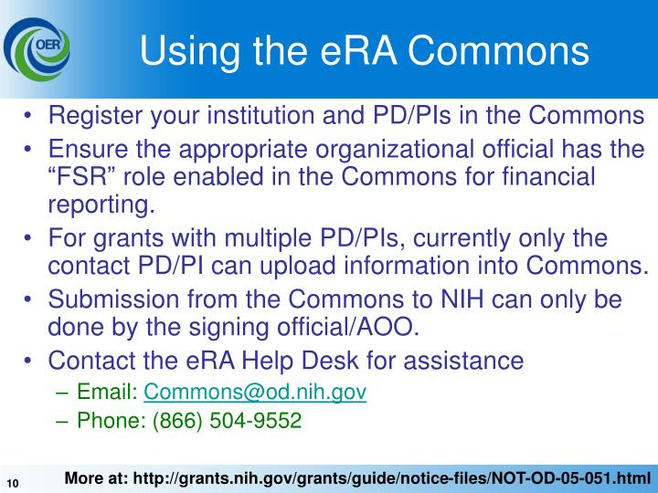 Using the eRA Commons