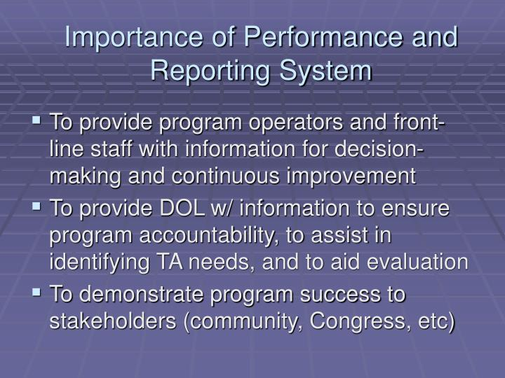 Importance of Performance and Reporting System