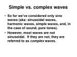simple vs complex waves