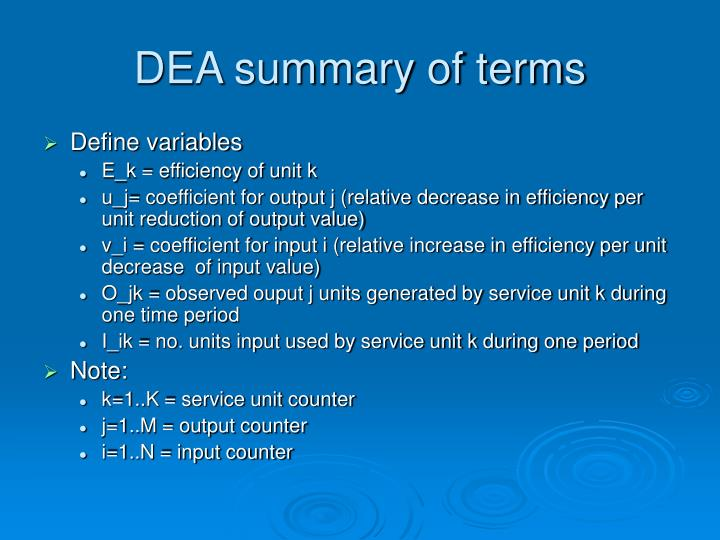 DEA summary of terms