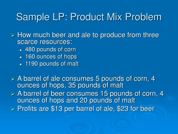 Sample LP: Product Mix Problem