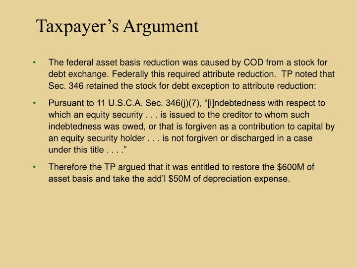 Taxpayer's Argument