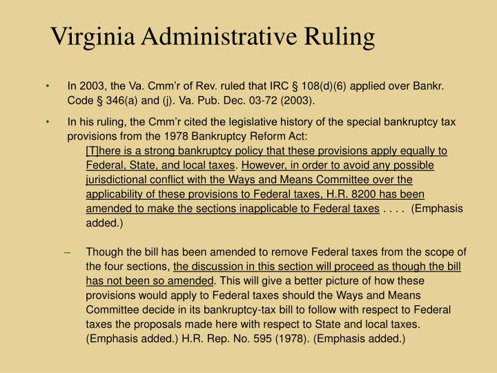 Virginia Administrative Ruling