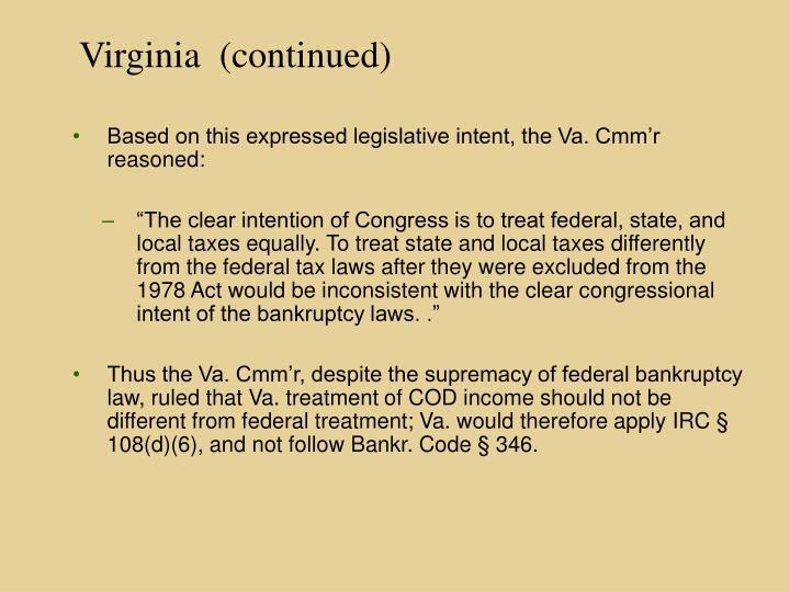 Virginia  (continued)