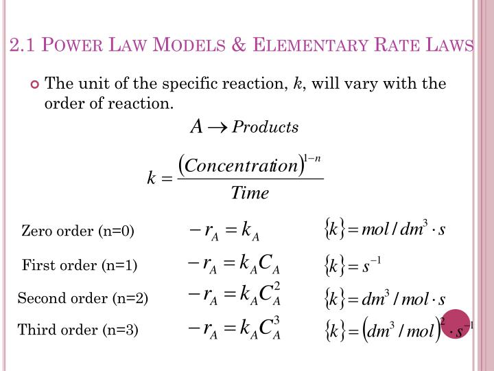 2.1 Power Law Models & Elementary Rate Laws