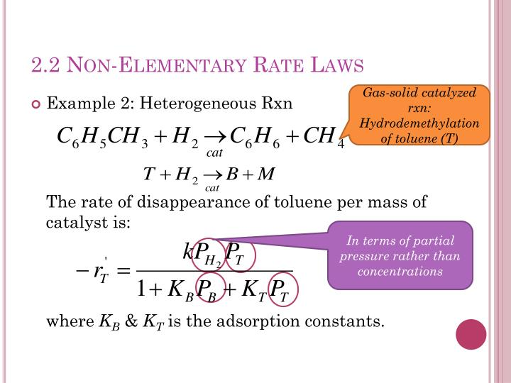 2.2 Non-Elementary Rate Laws