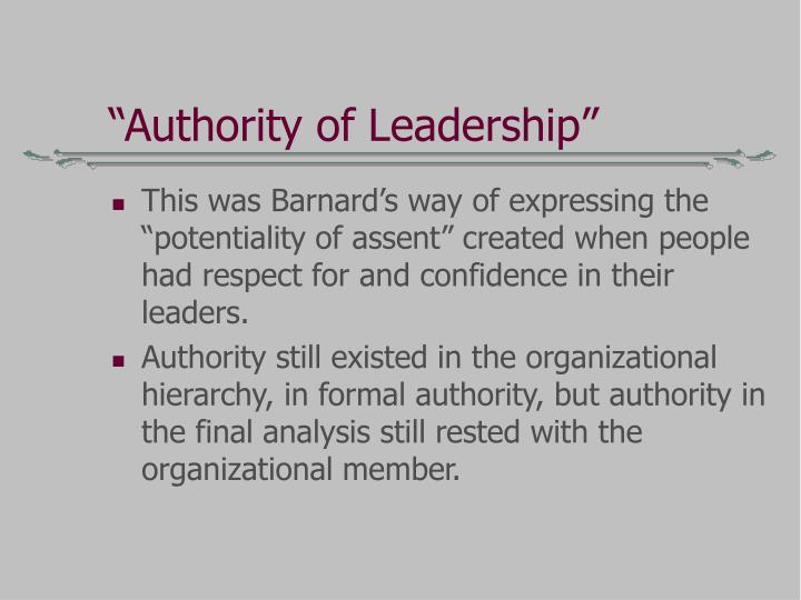 """Authority of Leadership"""