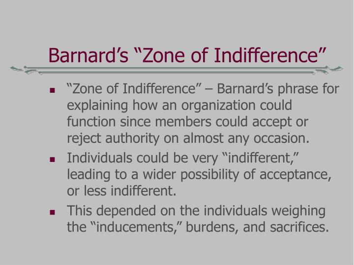 "Barnard's ""Zone of Indifference"""