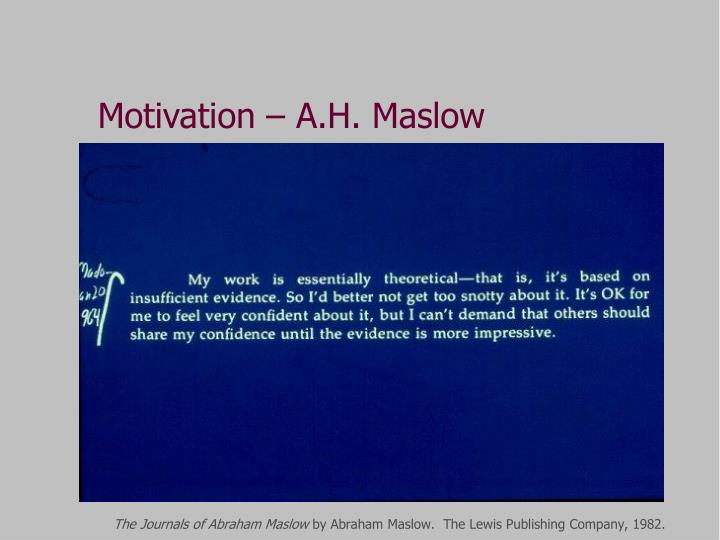 Motivation – A.H. Maslow